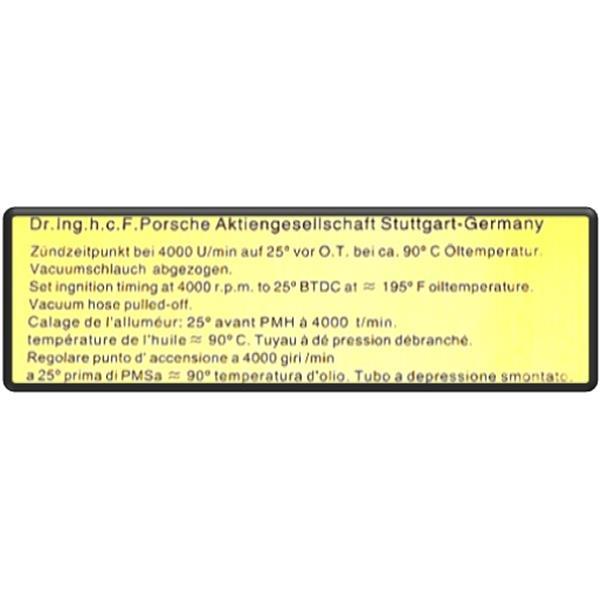 Motorraumaufkleber Zündzeitpunkt 911 SC ab Bj 81