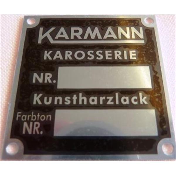 """Schild """"Karmann Karosserie Nr. + Kunstharzlack Farbton Nr."""" Convertible D + Roadster"""