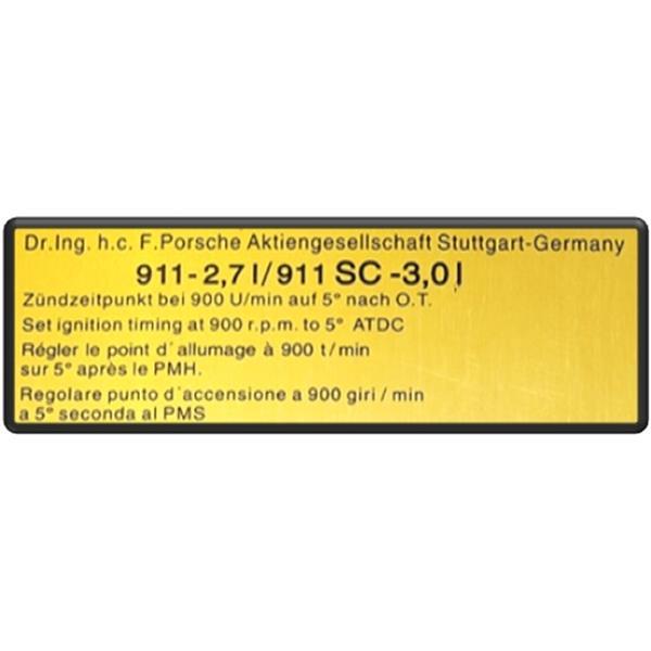 Motorraumaufkleber Zündzeitpunkt 911-2,7 + 911 S Bj. 75-77, 911 Carrera 3,0