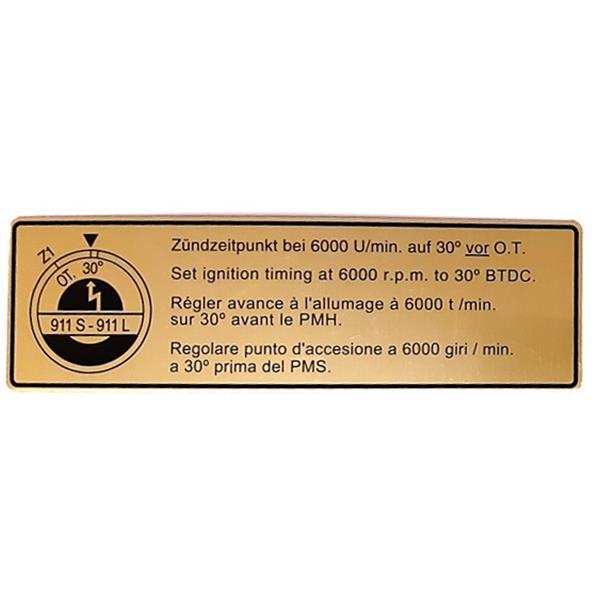 Motorraumaufkleber Zündzeitpunkt 911 L/S/ bis Bj. 68