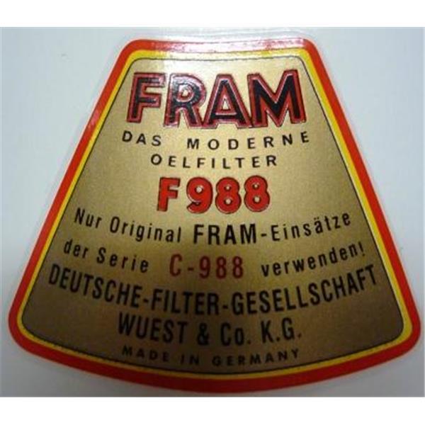 Aufkleber für Ölfilterbehälter (Fram)