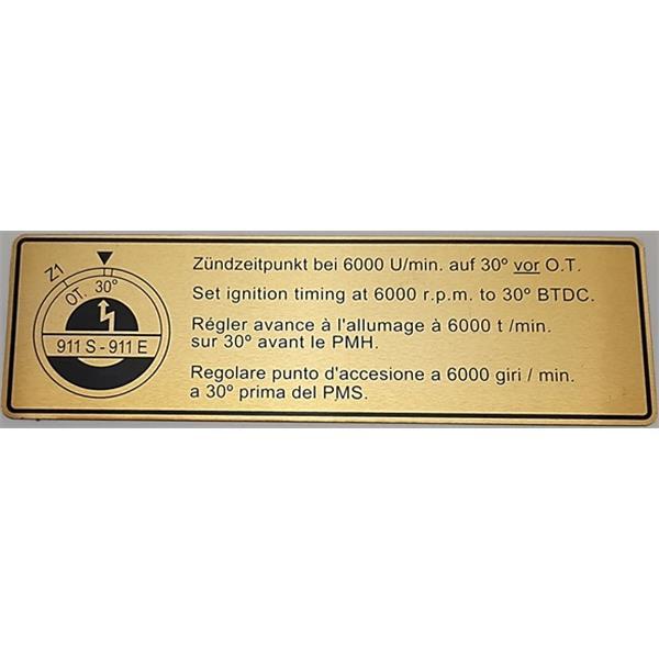 Motorraumaufkleber Zündzeitpunkt 911 S/E Bj. 68 - 71