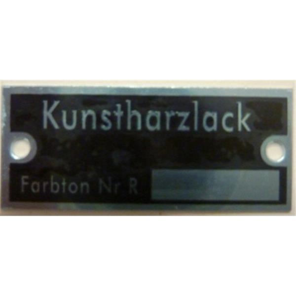"Schild ""Kunstharzlack Farbton Nr. R"""