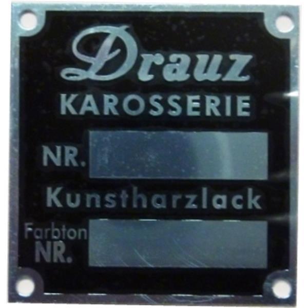 """Schild """"Drauz Karosserie Nr. + Kunstharzlack Farbton Nr."""" Convertible D + Roadster"""