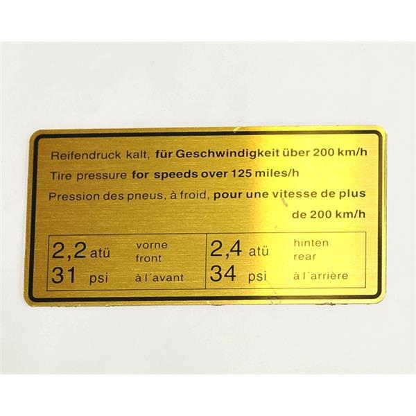 Motorraumaufkleber Reifendruck 200 km/h 911 S Bj. 67 - 72, 911 E Bj. 69 - 72, 911 T Bj. 72