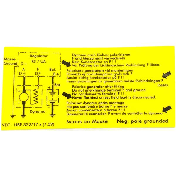 Aufkleber Lichtmaschinenregler , 356 Bj. 59 - 64
