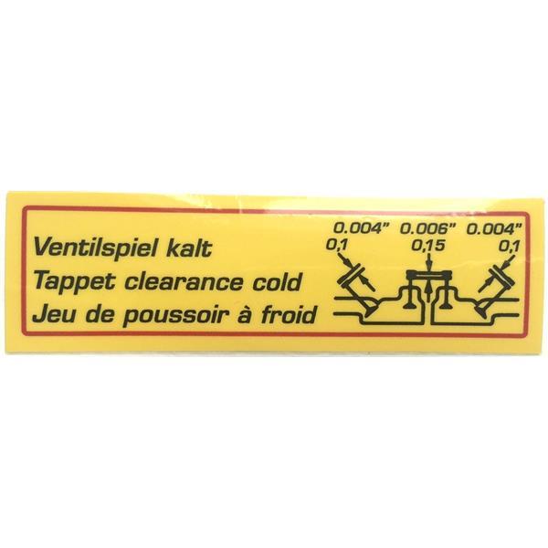 Aufkleber (Folie) Ventilspiel kalt Super 90 + 356 C